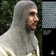 Coif - Square Face Mild Steel Butted Chainmail
